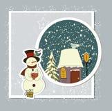 A cute Christmas card with a snowman. Background Stock Photos