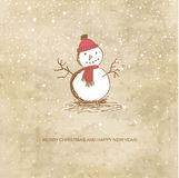 Cute  christmas card with snowman Royalty Free Stock Photo