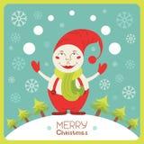 Cute Christmas card with snowman Stock Photos