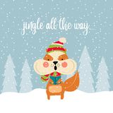Cute Christmas card with squirrel singing carols royalty free illustration