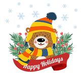 Cute Christmas card with tree braches and funny bear royalty free illustration