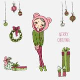 Cute Christmas card in vector. Stock Image