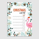 Cute Christmas card, wish list. Flamingo with Santa hat and floral frame made of Christmas tree branches and red berries. Royalty Free Stock Photos