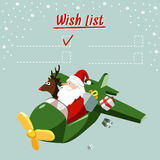 Cute christmas card, wish list with Santa Claus and reindeer flying the plane,  Stock Images