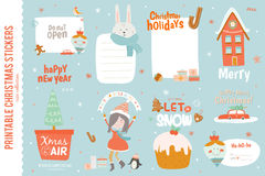 Cute Christmas cards, labels and stickers Royalty Free Stock Photo