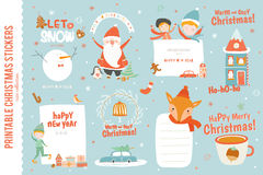 Cute Christmas cards, labels and stickers Stock Photo