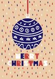 Cute Christmas cards. With a picture of the Christmas ball in Scandinavian style. Vector illustration Stock Photography
