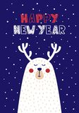 Cute Christmas cards with a picture of a deer in Scandinavian style. Vector illustration Royalty Free Stock Photo