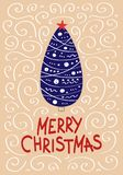 Cute Christmas cards with a picture of a Christmas tree. In Scandinavian style. Vector illustration Stock Photo