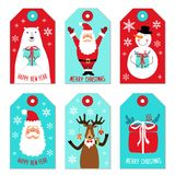 Cute Christmas cartoon characters of Santa Claus, Reindeer, Snowman and Polar Bear as tags. For your decoration stock illustration
