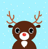 Cute christmas cartoon Deer on blue background Stock Photography