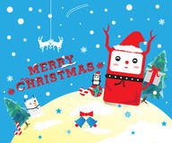 Cute Christmas cartoon. Cute merry Christmas cartoon card stock illustration