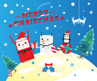 Cute Christmas cartoon. Cute merry Christmas cartoon card royalty free illustration