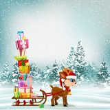 Cute Christmas cartoon scene with reindeer and sledge full of present royalty free stock images