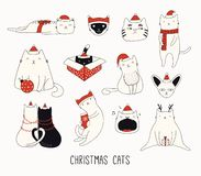 Free Cute Christmas Cat Doodles Stock Photo - 161352870