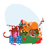 Cute Christmas cat  illustration. Stock Photo
