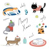 Cute Christmas cats collection. Collection of hand drawn cute funny cartoon cats in hats, with presents, typography. Isolated objects on white background. Vector Royalty Free Stock Image