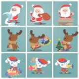 Cute christmas character.Snata claus elf snowman. Royalty Free Stock Photos