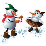 Cute Christmas Character Snowmen Royalty Free Stock Photos