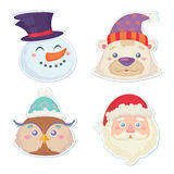 Cute Christmas characters, head stickers Stock Photo