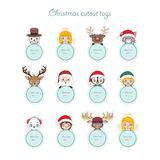 Cute Christmas characters holding present tags Stock Photography