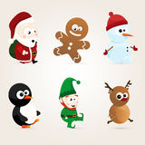 Cute christmas characters. Set of cute christmas characters Stock Image