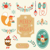 Cute Christmas clipart collection Royalty Free Stock Image