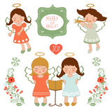Cute Christmas collection with happy angels and Stock Images