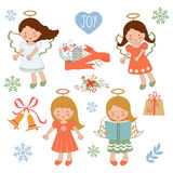 Cute Christmas collection with happy angels and Royalty Free Stock Image