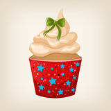 Cute Christmas cupcake with decorations Royalty Free Stock Images