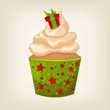 Cute Christmas cupcake with decorations Royalty Free Stock Photo
