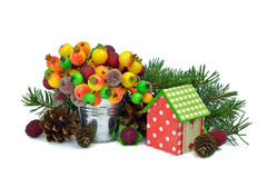 Cute Christmas decor. Christmas tree, toys, cones. Isolated. Stock Image