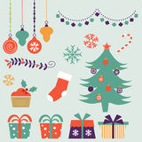 Cute Christmas decorative elements and icons. Vector illustration Stock Image