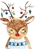 Cute Christmas deer with new year baubles on hornes. Hand drawn watercolor illustration for winter greetings Royalty Free Stock Photography