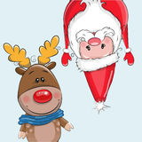 Cute Christmas deer and Santa Royalty Free Stock Photos