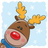 Cute Christmas deer and Santa. Greeting Christmas card Cute Cartoon deer and Santa Stock Image