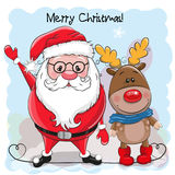 Cute Christmas deer and Santa. Greeting Christmas card Cute Cartoon deer and Santa Royalty Free Stock Photo