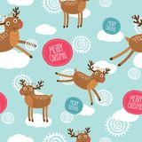 Cute Christmas deer seamless pattern Royalty Free Stock Photo