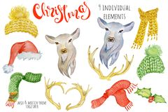Cute Christmas deer watercolor creator Winter illustration with decorations. Trendy cartoon royalty free illustration