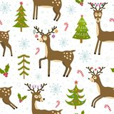 Cute christmas deers seamless pattern. Winter background with funny reindeer. Vector illustration Royalty Free Stock Photo