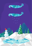Cute Christmas Diamond Stylized Design. Illustration of a Snow man in a frozen pine forest mountain available in Vector EPS10 and Raster vector illustration