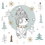 Cute christmas dog zen art doodle. Cute christmas cartoon dog in hat zen art doodle.Vector illustration ready for adult anti stress coloring book or invitation Stock Images