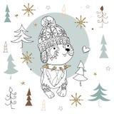 Cute christmas dog zen art doodle Stock Images