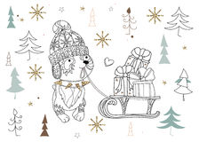 Cute christmas dog zen art doodle. Cute christmas cartoon dog in hat zen art doodle.Vector illustration ready for adult anti stress coloring book or invitation Royalty Free Stock Photo