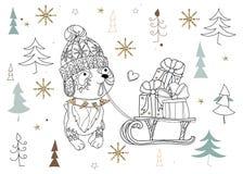 Cute christmas dog zen art doodle Royalty Free Stock Photo