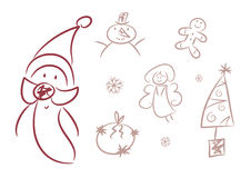 Cute Christmas Doodles (Figures, ...) Stock Image