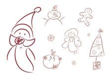 Cute Christmas Doodles (Figures, ...) Stock Image
