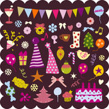 Cute christmas elements Stock Images