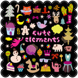Cute christmas elements. Vector Illustration of cute christmas elements Stock Photos