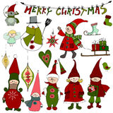 Cute Christmas elements and elves. Vector illustrated cute Christmas elements and elves royalty free illustration